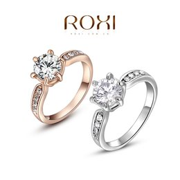 fg roxi wedding ring classic genuine austrian crystals sample sales rose gold plated five pawls ring jewelry party off - Wedding Rings On Sale