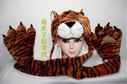 New hat Moda inverno animais até luvas pata 3 sincréticas chapéu de pelúcia tigre chapéus cachecóis luvas Define criança Unisex