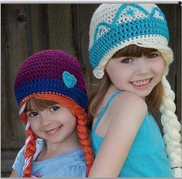 Wholesale chica de ganchillo Elsa Anna sombreros de los niños gorras de punto infante recién nacido niño niños invierno de las muchachas de la gorrita tejida de Earflaps Skullcap del manguito del oído