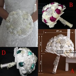 Wholesale 2014 New Collection Wedding Bouquet Hot Sale Bridal Bouquets Satin Fabric Handmade Rose Pearls And Rhinestones Bride Holding Flowers CGL612