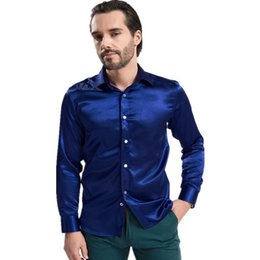 Wholesale 2015 New Fashion Long Sleeve Silk Dress Shirts For Men Colors High Quality Mens Button Shirt Size S XXL Chemise Homme Q1570