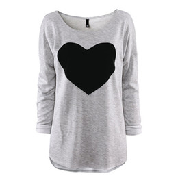 Wholesale 2015 Fashion T Shirt for women Heart Tops Sweatshirts Long Sleeve Shorts T Shirt Female Plus Sizes Tee Dresses Autumn Clothing S XXL