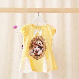 Wholesale 2015 summer new baby girls princess dress children cut cat pattern short sleeve dress Infant cotton dress belt babies clothes T A5765