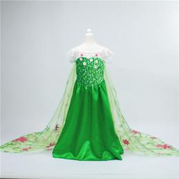 Wholesale 10pcs Cinderella ELSA dresses party dress princess costume Frozen fever cosplay elsa dresses girls Kids dance lace cape dress