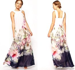 Wholesale 2016 Summer Floral Print Maxi Dresses Women Beach Club Casual Loose Chiffon Sleeveless O Neck Long Plus Size Boho Dress Clothers OXL072901
