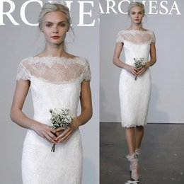 Wholesale Elegant Short Lace Wedding Dresses Sheath Sheer Neck Backless Capped Sleeves Knee Length High Quality Bridal Gowns Marchesa New Design