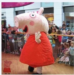 Wholesale Lovely Pink Peppa Pag Pig Hog Swine Mascot Costume Cartoon Character Big Long Cylinder Nose Pink Blusher Black Shoes No FS