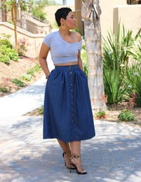 Button Front Denim Skirt Online | Button Front Denim Skirt for Sale