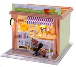 2015 novelty diy wood doll house tea shop dollhousecreative miniature dollhouse with furniture toys for kid free shipping affordable dollhouse miniatures affordable dollhouse furniture