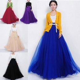 Wholesale Hot Womens Elastic Waist Band Dress Summer Chiffon Double Layer Long Maxi Skirt