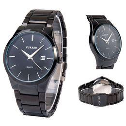 2016 Reloj del cuarzo de los relojes del negocio del reloj del cuarzo de los hombres de la fecha de la exhibición análoga del acero inoxidable de la marca de fábrica nueva de lujo de CURREN Shiping de la gota de los hombres