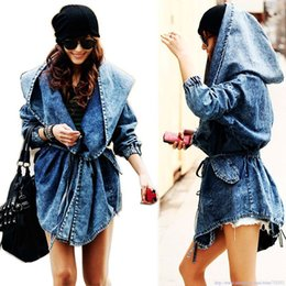 Wholesale Surprised Fashion Lady denim clothes for women outerwear Hoodie Hooded coat jacket plus large size punk clothing