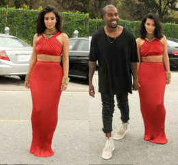 Wholesale Kim Kardashian Dress Halter Sleeveless Floor Length Tiered Two Piece Sheath Red Celebrity Gowns th Grammy Awards Dresses long Party dresse