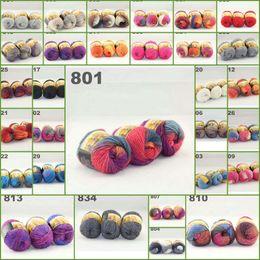 3ballsx50g Austrália colorido hand-knitted segmento de lã de fios grossos tingidos linhas grossas fantasia tricô bebê cachecóis chapéus 522801-522820