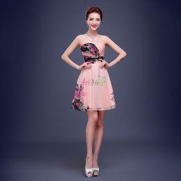 Wholesale Flower Printed Short Prom Dress Corset Back Sweetheart Neckline Pink Chiffon Short Party Dress Customized Size