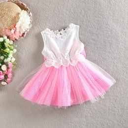 online shopping Girls Bow striped Dress New Summer sleeveless cotton gauze Princess dress Girls Lace dress baby clothes C001