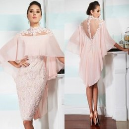 Wholesale 2015 Pink High Neck Cocktail Dresses with Wraps Illusion Neckline Sheer Back Lace Sheath Knee Length Evening Dresses with Beaded Appliques