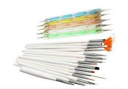 Wholesale 20Pcs Set White Acrylic Nail Art Brush Design Set Painting Dotting Drawing Polish Brush Pen Tools Z356