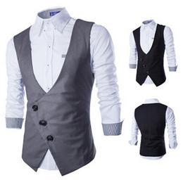Wholesale New vest for men autumn Korean business casual slim fit mens vest sleeveless suit vests cardigan coat men s clothing
