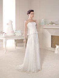 Wholesale 2015 Simple Bridal Gowns Sexy backless Square Neck Boho beach wedding dress sleeveless Appliqued lace Beading vintage Bohemian