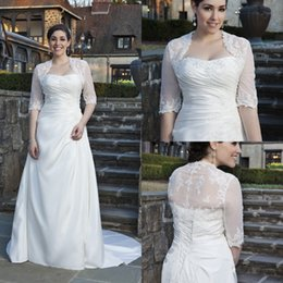 Wholesale BM Plus Size Wedding Dress US Size W Customed Made Strapless Pleats Appliqued Beaded Long Sweep Train Bridal Dress With Jackets