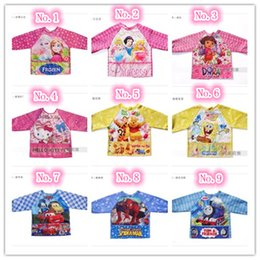 Wholesale 9 styles Waterproof baby feeding overclothes kid boys girls children kitchen smock dustcoat child painting apron for years