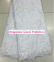 Wholesale High Quality Cotton African Embroidery Organza Lace Fabric AMY3007C WHITE COLOR