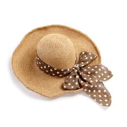 Wholesale New Women UPF Sun Protective Straw Hat with Bowknot Wide Brim Holiday Sunhat