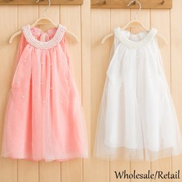 Wholesale Baby Girls Dress Sleeveless White Pink Chiffon Princess Party Pearls Dress Summer Style Kids Clothes Dresses Children Clothing SV014993