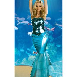Wholesale vestido atractivo de Halloween Cosplay del envío libre atractivo de la sirena envuelta lentejuelas en el pecho etapa trajes de la Navidad del vestido de lujo