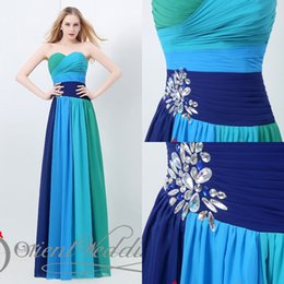 Wholesale Newest Style Prom Gowns Strapless Lace Up Long Evening Dresses Ruffle Long Women Dresses Crystals Colorful Designer Bridesmaid Dresses