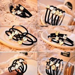 Wholesale Fashion Hair accessories Pony Tails Holder Rubber band Rope Crown love Mickey headdress hair ring Hair Accessories Headwear Mix Style