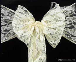 Wholesale Wedding Supplies Pieces Ivory Lace Chair Sashes Wedding Chair Cover Sashes Bow