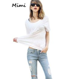 Wholesale European And American Streetwear Women s Blouses Summer New Crew Neck Short sleeved Pullovers Cotton Blend Solid Casual Tee Tops Oversized