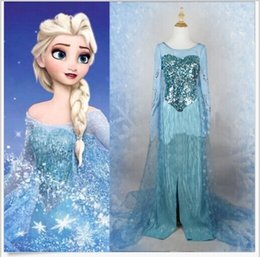 Wholesale Bling Princess Snow Costume Cosplay Dress Adult Lady Tulle Elsa Dress SMLxxl
