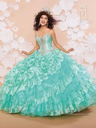 Wholesale New Stylish Vestido De Aqua Peach Quinceanera Dresses Ruffled Organza Beads Years Debutante Birthday Party Ball Gowns