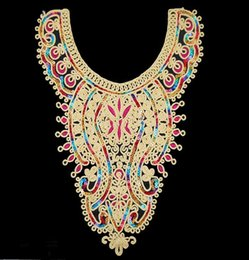 Wholesale 10pieces Craft Gold Thread Flower Sequin Embroidery Lace Patches Decorated Sewing Necklace Collar Applique Trims cm cm t524