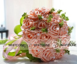 Wholesale Cheap Gorgeous New Beauty Bridal Wedding Bouquet Pearls Silk Rose Artificial Bridesmaid Flower WF006 in Stock
