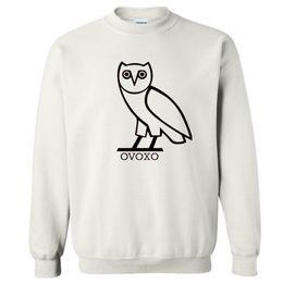 Wholesale Cotton Men s Sportwear Coat Jogger Tracksuit Pullover Fleece Sweatshirt O neck Bird ovoxo Drake Black Hip Hop Hoodie Men