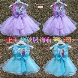 Wholesale Frozen Dress summer sleeveless big butterfly knot princess dress kids party dress girls yarn dress full dress fashion dress christmas dress