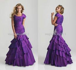 Wholesale 2015 New Arrival Elegant Purple Orange Hunter Scoop Ruffles Beads Stretch Satin Mermaid Long Plus Size Evening Dress Party Gowns