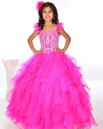 Wholesale Fuchsia Pretty Portrait Pageant Dresses for Little Girls Sparkly Crystal Beads Tiered Ruffles Ball Gown Organza Gold Sequin Flower Girl