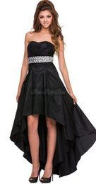 Wholesale Long Back Short Front Prom Dress Beaded Satin Strapless Teens Formal Party Dress