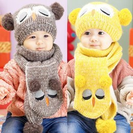 Wholesale 1set New Hot Baby Boy Girl Winter Hat Warm Cute Cartoon Woolen Hat Knitted Earmuffs Cap Baby Beanies Scarf Set Free SHip