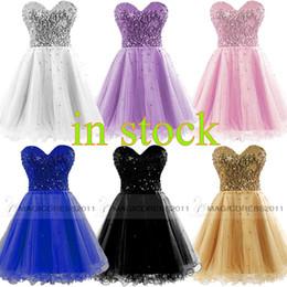 Vestidos de fiesta baratos 2015 Ocasión Vestido Oro Negro Azul Blanco Rosa Sequins Sweetheart corto vestido de fiesta Prom Vestidos 100% Real Image