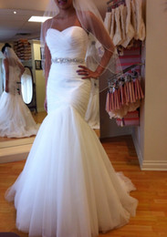 Wholesale In Stock Sexy Mermaid Wedding Dress Sweetheart Backless With A long Train Tulle Bridal Gown Real Picture
