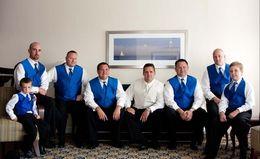 Wholesale Royal Blue Satin Tie Vest mens tuxedos Groom Suits Best men suits waistcoat