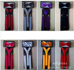 Wholesale NEW Arrival Suspender and Bow Tie Sets for Tuxedo Wedding Suit