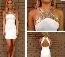 Wholesale Fashion Halter Neckline Cocktail Party Homecoming Dresses With Gold Sparkle Beaded Sheath Short Mini Prom Dress BO6809