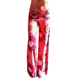 Wholesale 2016 Summer Women Pants Casual High Waist Flare Wide Leg Long Pants Palazzo Trousers Floral Plus Size Classic Pant Preppy
